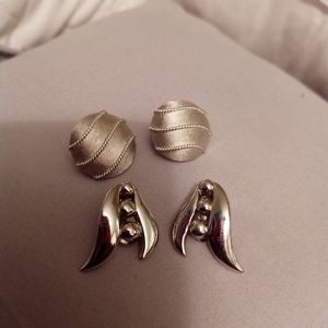 Vintage Monet and Trifari Clip-On Silver Earrings